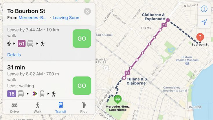 Apple Maps Now Provides Transit Directions in New Orleans