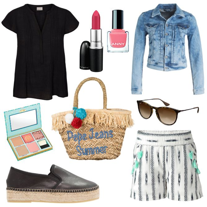 Damen Outfit 2017-06-11 - #ootd #outfit #fashion #oneoutfitperday #fashionblogger #fashionbloggerde #frauenoutfit #herbstoutfit - Frauen Outfit Frühlings Outfit Outfit des Tages Anny Benefit Espadrilles Flamingo Jeans Jeansjacke Lippenstift MAC Make-Up Nagellack Noppies Oberteil Pepe Pepe Jeans Ray Ban Set Shorts Sonnenbrille Strandkorb Vero Moda Zign