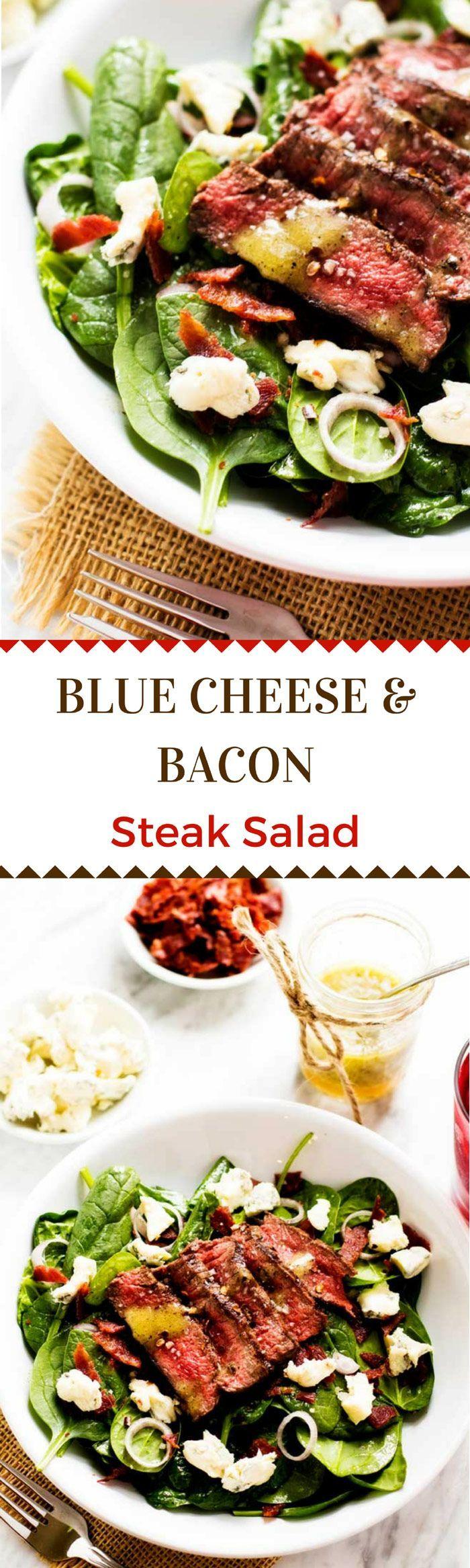 Blue Cheese & Bacon Steak Salad via @wendypolisi