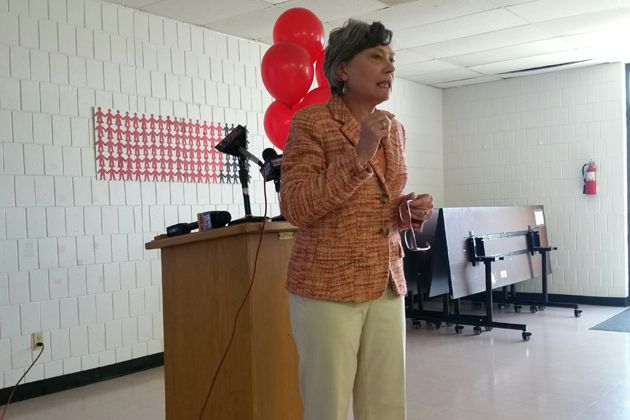 Diane Zosky McLean County Equal Pay Coalition rallies on Equal Pay Day   WJBC AM 1230 2  2016