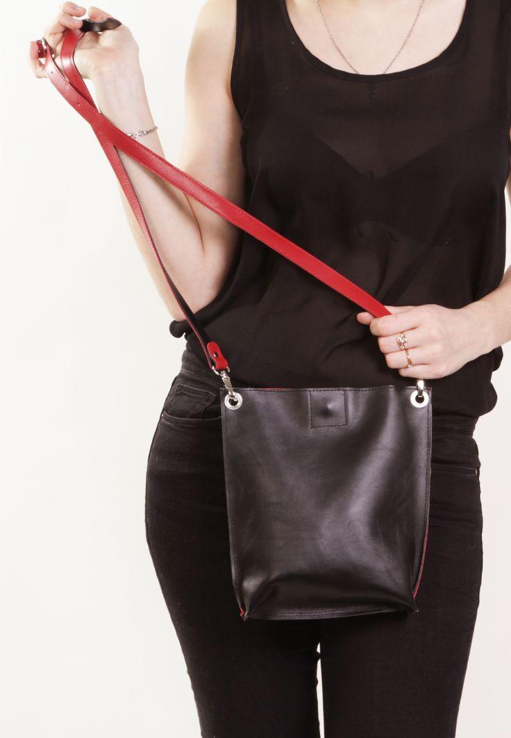 "Handmade Leather Bag ""Monica Double Stendhal""/ Black and Red Handbag / Black and Red Crossbody Bag / Bag for iPad mini by A-Rada"