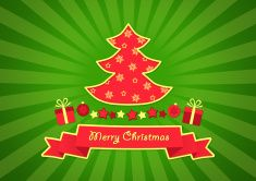 Greeting Card Merry Christmas with decorations - illustration vector art illustration