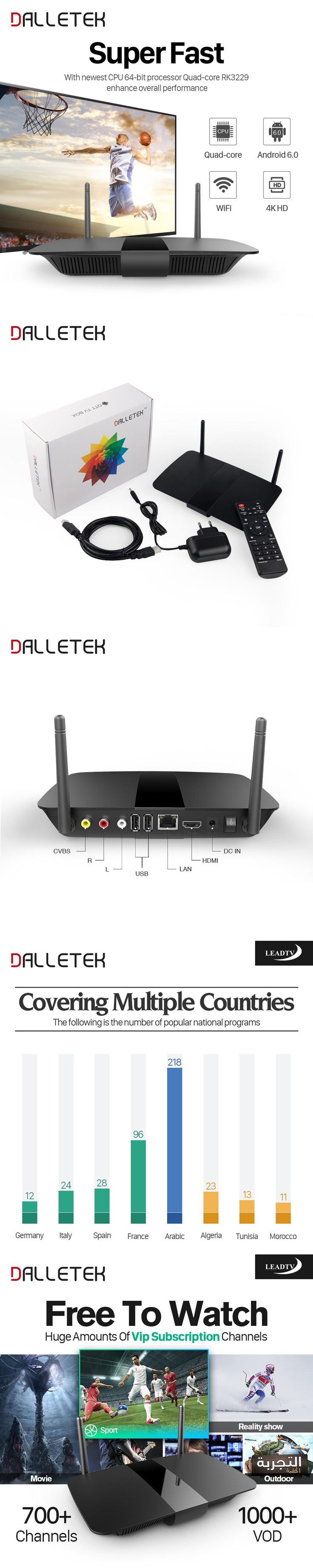 Dalletektv Smart Android TV Box ARM Cortex A7 Quad Core 1G 8G H.265 700+ Arabic French IPTV Italy Spain Germany Subscription