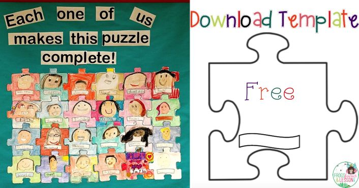 Each one of us completes this puzzle bulletin board idea...comes with puzzle template to download!
