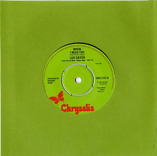 """Leo Sayer When I Need You - 4pr 7"""" vinyl single (7 inch record) UK LSY07WH630436"""