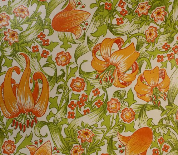 1970's Vintage Wallpaper Orange Lily pretty by kitschykoocollage, $14.00