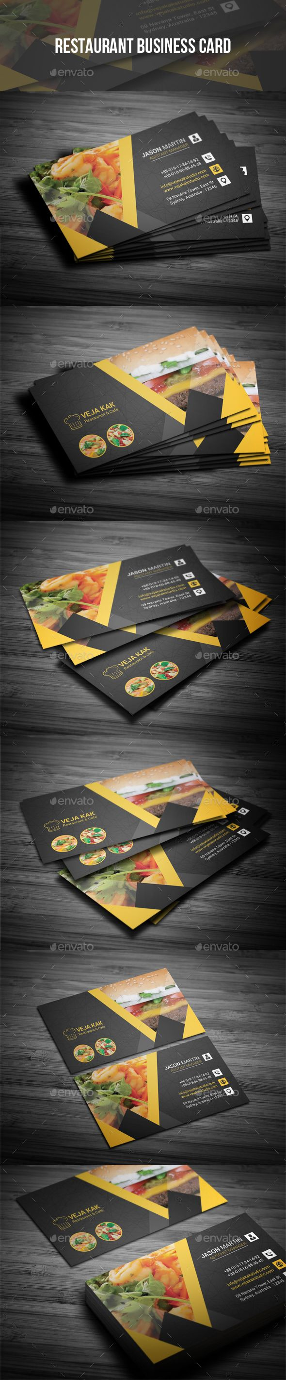 Restaurant Business Card Design Template - Industry Specific Business Cards Design Template PSD. Download here: https://graphicriver.net/item/restaurant-business-card/19350729?ref=yinkira