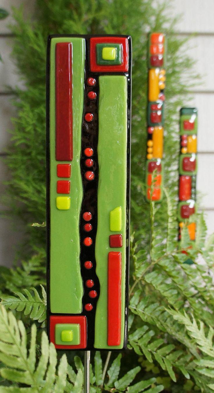 Christmas Ornament - Home Decor - Garden Art  - Fused Glass - Black Green Red Art Stake