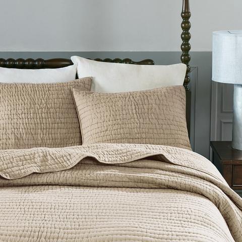 Dolce Solid Beige Cotton Quilt Set
