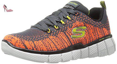 Skechers Equalizer 2 Perfect Game, Baskets Basses Garçons, Gris (Ccor Gris/Orange), 39.5 EU - Chaussures skechers (*Partner-Link)