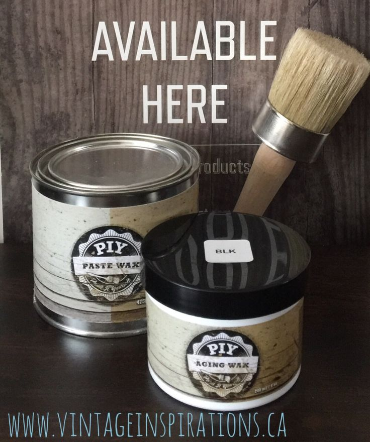 """PIY Furniture Paint carries a line of Wax products which include clear paste wax, aging waxes in brown and black as well as wax and buffing brushes.  Order from anywhere in Canada or the US and get delivery to your door - save 10% off your order using the Vintage Inspirations by Sharon affiliate link along with coupon code """"BAREWARDS"""" at checkout!  http://piypaint.com/ref/33/?campaign=Pinterest"""