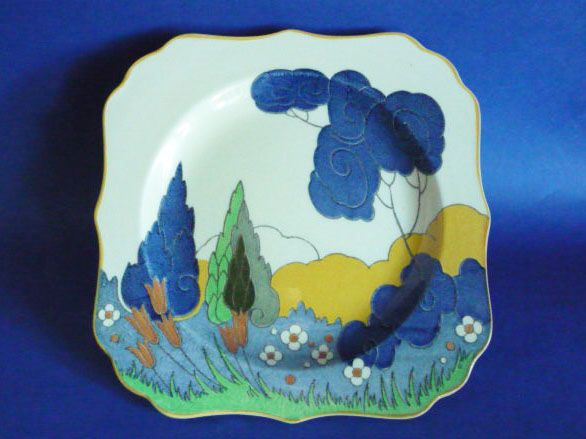 Royal Doulton 'Arcady' or 'Cypress Trees' Dorothy Plate D5093 c1931