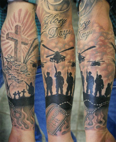 Nice Full Sleeve Army Tattoo