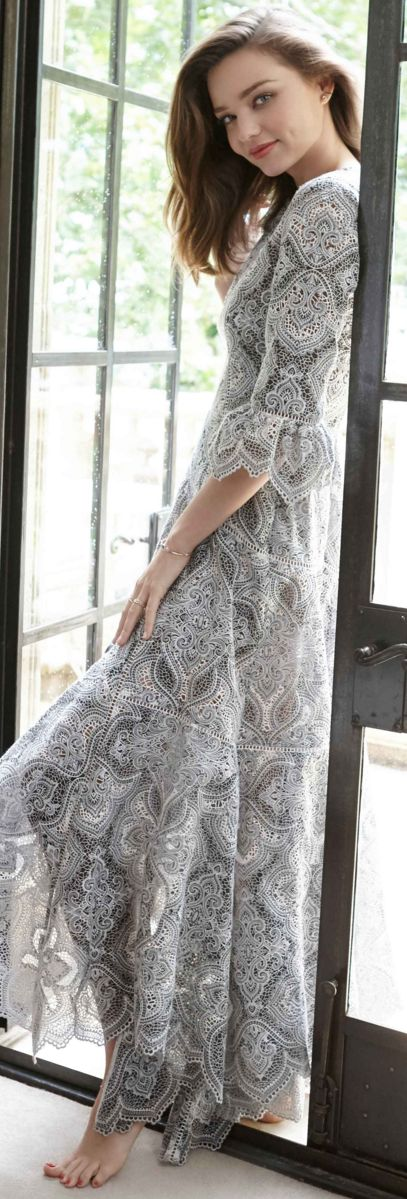 Who made  Miranda Kerr's gray lace long sleeve dress? Zimmermann