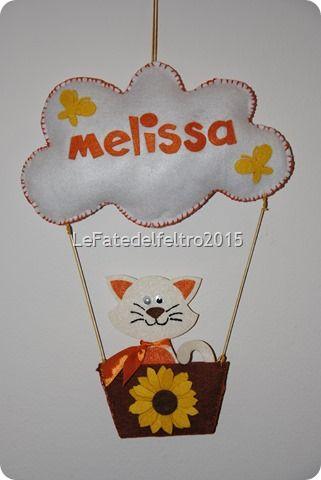 fiocco nascita feltro gatto felt cat it's a girl