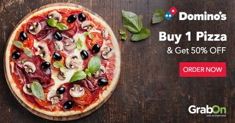Having A Lazy Sunday? Then Its Time To Order PIZZA. @dominos_india Offers Buy 1 Pizza & Get 50% On 2nd Pizza. http://www.grabon.in/dominos-coupons/