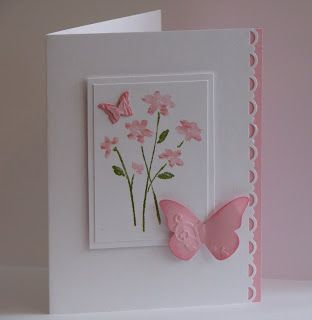 sweet handmade card ... pink and white ... like the delicate layout ...: Pink Flower, Cards Ideas, Handmade Cards, January 2010, Beautiful Wings, Cards Inspiration, Butterflies Cards, Fringes, Paper Crafts