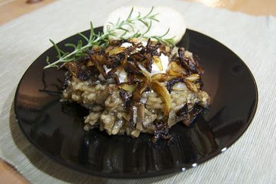 Baked Mushroom Risotto with Caramelized Onions