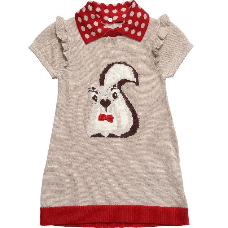 Mayoral Beige Knitted Squirrel Dress