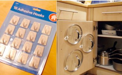 Use adhesive hooks to hang lids on the back side of the cupboard door. No more digging around in the back of the cupboard to find the lid you need.