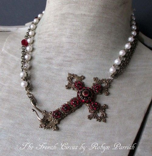 red rhinestone cross necklace | The French Circus by Robyn Parrish