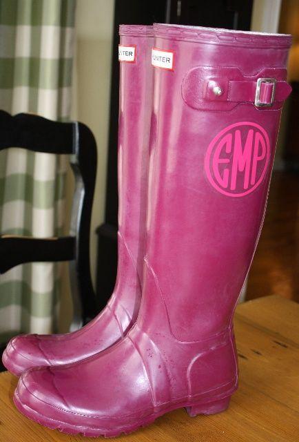 monogrammed hunter's=heaven: Monograms Hunters, Boots Monograms, Southern Style, Rain Boots, Monograms Rainboot, Hunters Boots, Front Doors, Hunters Rainboot, Monograms Decals