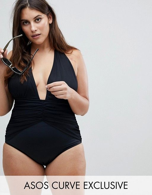 fd1fcd54b0ebb DESIGN Curve Ruched Waist Plunge Swimsuit in 2019 | My style ...