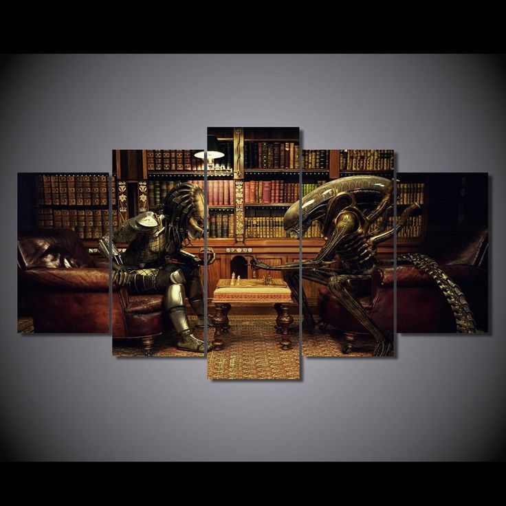Aliens vs Predator Game Of Chess 5-Piece Wall Art Canvas - Royal Crown Pro