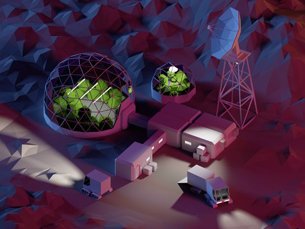 Low poly station on Behance