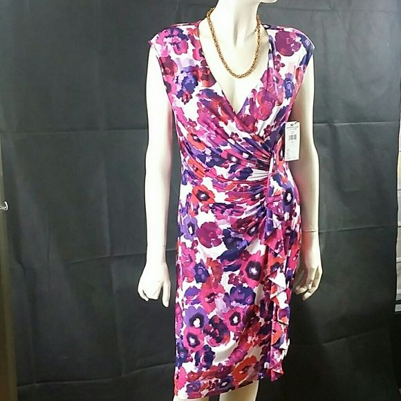 """Shop Women's American Living Purple Red size 12 Midi at a discounted price at Poshmark. Description: American Living Floral-Print V-neck Dress, size 12, multicolored vibrant Floral-Print purple, burgundy, white and blue blend, V-neck, polyester lining, sleek sheath silhouette, lined at the bodise, aproximate 36.5""""back body lenght, pull-on style, made of polyester, Elastane blend, $ 79.00 store retail price value, comes new with tag as closeout item in good cosmetic condition.. Sold b..."""