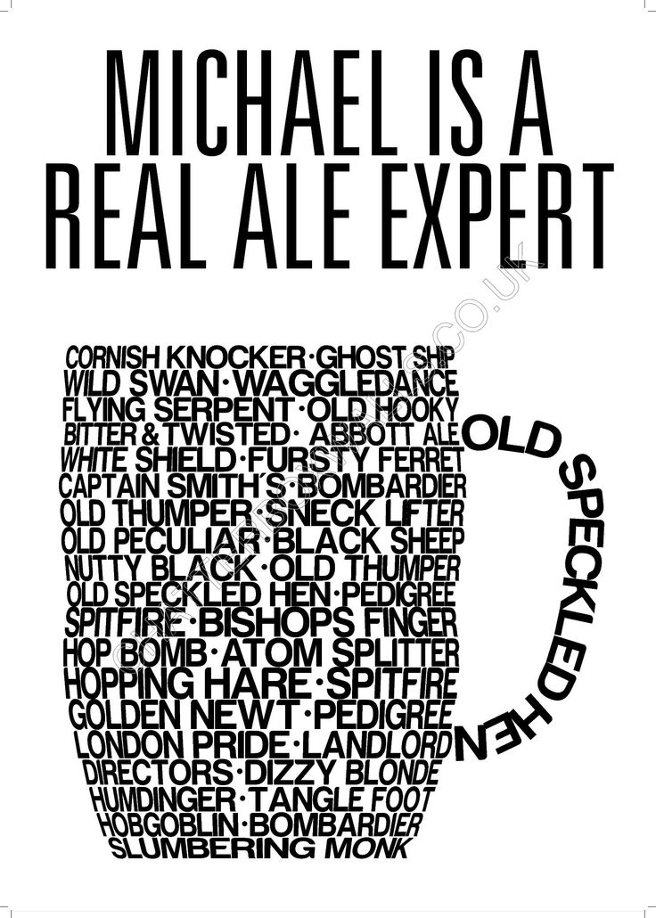 Real Ale - Will he travel the world tasting beers at every port? Try immortalising them on one of our drink inspired wall art typographic poster featuring a huge variety of real ales, plus you can personalise it with two lines of text. http://www.chatterboxwalls.co.uk/details.php?product=13