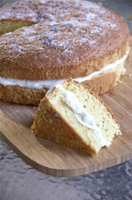 Lemon and Lavender Chiffon Cake with Honey Lavender Cream: flour, sugar, baking powder, salt, olive oil, eggs, cream of tarter, powdered sugar, heavy cream, honey, lemon, dried lavender