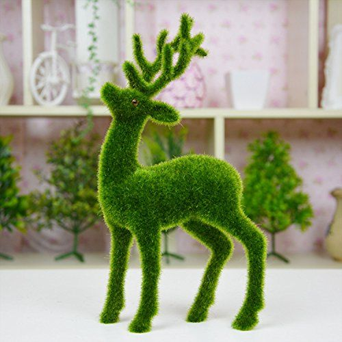 The Best Shopping Mall Supply Artificial Grass Decorations Simulation Moss Flocked Animals Deer Decorations Green Plants