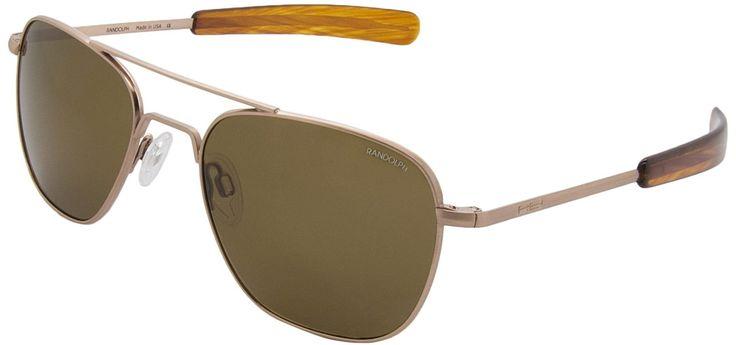 Randolph Engineering Aviator Rose 23K Gold Satin Amber Polarized Glass Lens Sunglasses