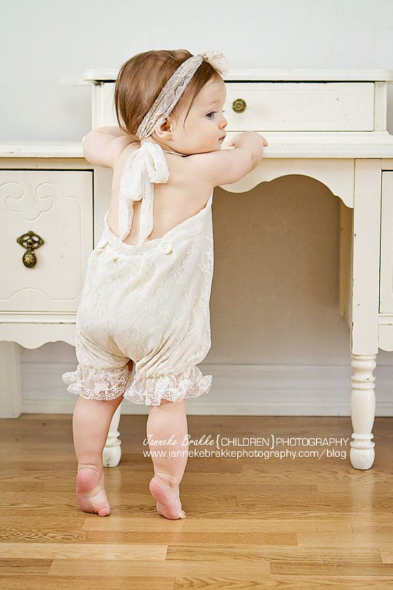 Vintage Style Ivory Lace Baby Romper. in Sizes newborn up to 24 months via Etsy