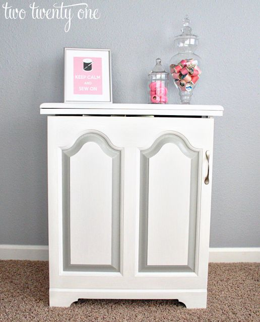 It takes perseverance but look how nice it looks: sewing cabinet makeover (painting laminate)