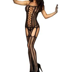 Women's Black Sheer Fishnet Striped Crotchless Suspender Bodystocking