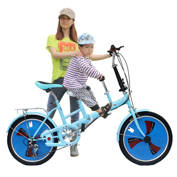 Parent-child car mother-child folding bicycles two-seater can take children bicycle lady's shifting from mother to child bicycle