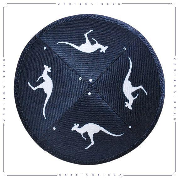 Handmade jewish kippah / yarmulke. Kangaroos.