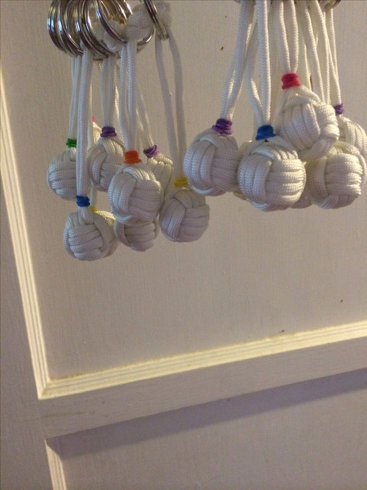 Handshake gift.  Made monkey knots with a marble in the middle out of para string, tied them to a key ring and ta-da!!  I think they look like little volleyballs.  A cheap gift for about $0.50 a piece
