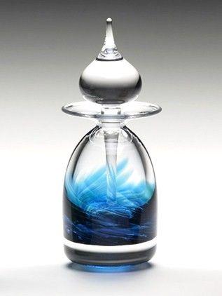 Art Glass Facet Perfume Bottle: Ocean