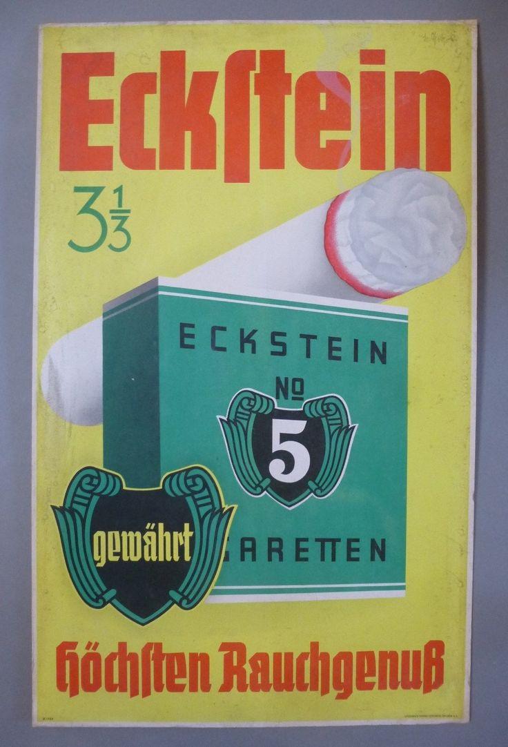 Eckstein No 5 Reklame Schild Werbung Zigaretten Pappaufsteller signiert um 1930