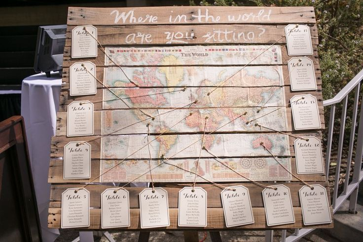 Travel Themed Wedding Seating Plan                                                                                                                                                                                 Mais