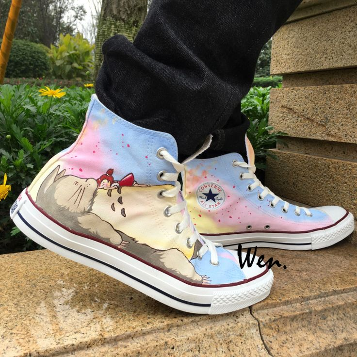 Anime Shoes Hand Painted Converse All Star Men Women Canvas Sneakers My Neighbor Totoro High Top. Click visit to buy #Skateboarding #Shoes