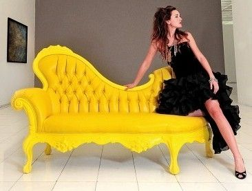 Yellow funky sofa by alhathran