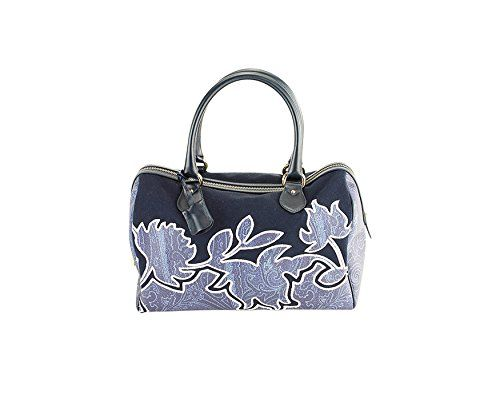 Etro Womens Duffel Bag Tote Blue Leather