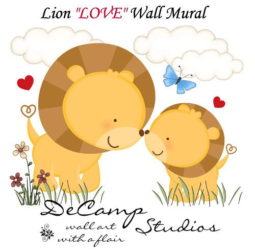 LION LOVE Wall Art MURAL Decals Baby Girl Boy by decampstudios, $19.99