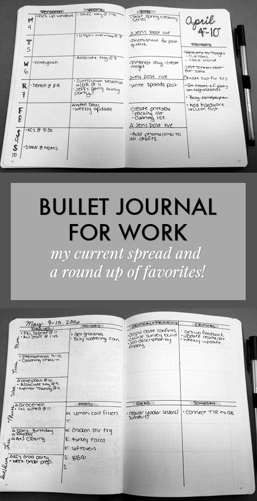 bullet journal for work -- I like this weekly spread with sections for personal, work and blog.