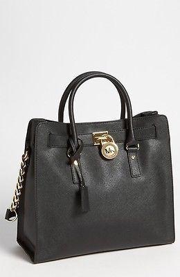 NWTS Michael Kors Hamilton Saffiano Leather Large N/S Tote Handbag Black $358