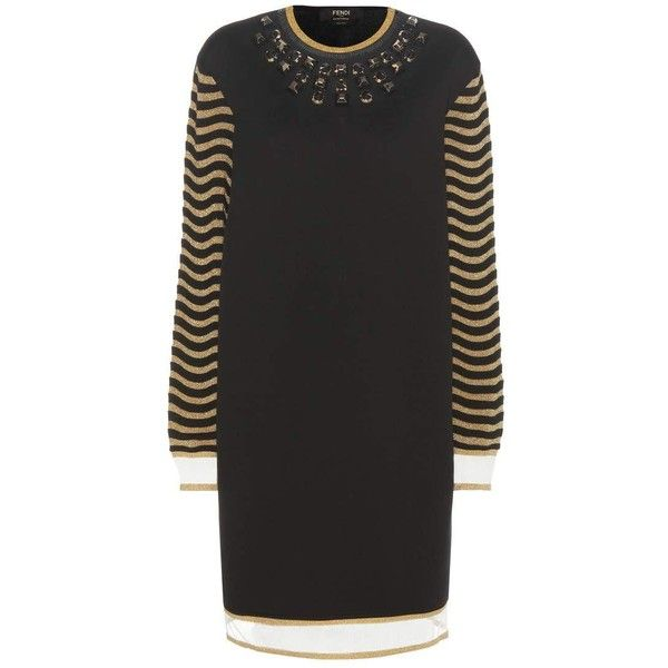 Fendi Embellished Sweater Dress featuring polyvore, women's fashion, clothing, dresses, black, fendi dress, embelished dress, embellished dress, sweater dresses and fendi